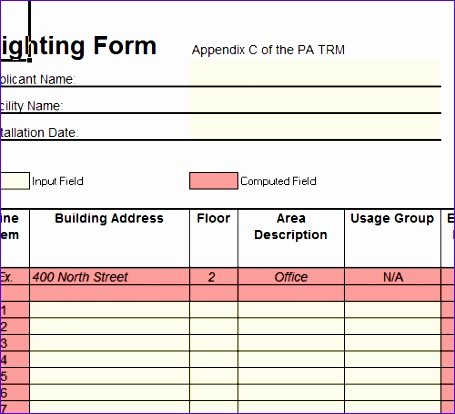 lighting spreadsheet excel template