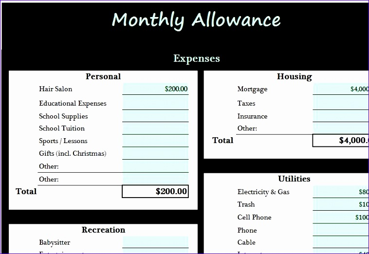 monthly allowance template 758522