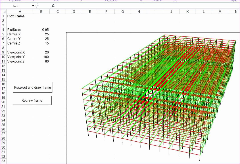 3dframe 3d frame analysis for excel