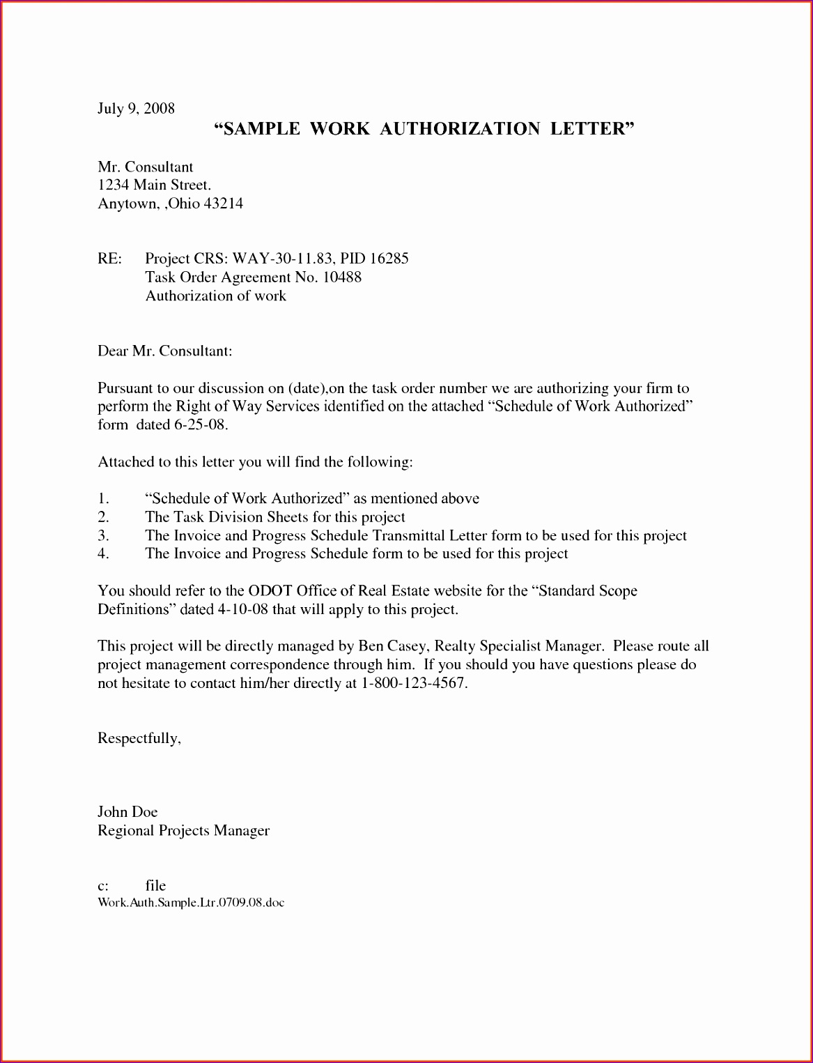 work authorization letter