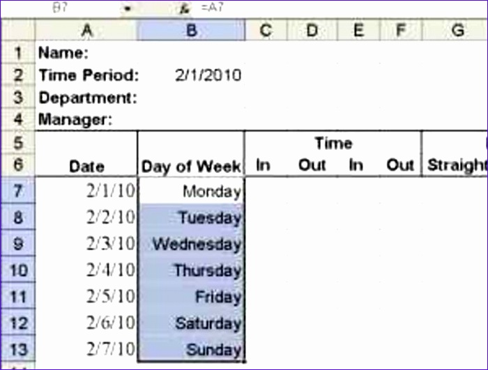 build a simple timesheet in excel 700531