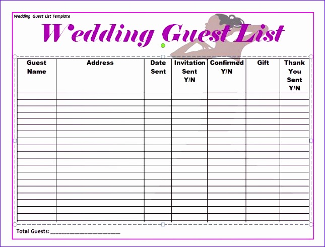 wedding guest list itinerary templates 645490