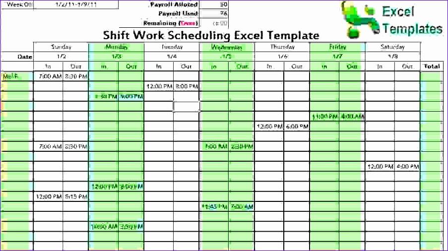 7 work schedule template excel 903506