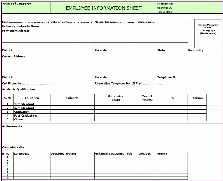 Free Employee Database Template In Excel Heofs Fresh Employee Information Sheet In Excel format 819657