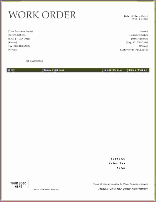 Free Purchase order form Template Excel Bkrew Inspirational 6 Free Work order Template 602772