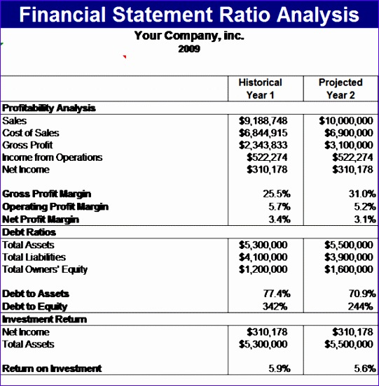 Monthly Profit and Loss Statement Template Excel Jtfgv Beautiful Financial Statement Ratios Analysis Template 595600