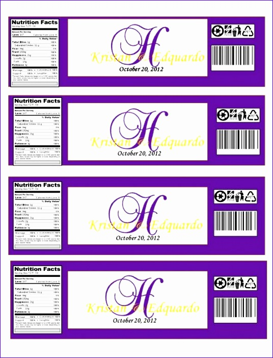 Nutrition Label Template Excel Bfcls Luxury Monogramed Water Bottle Labels… Opinions Please 590764