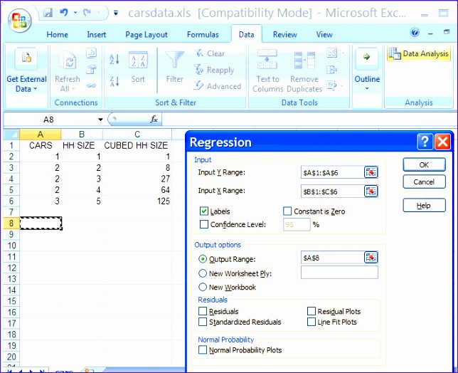 excel regression tutorial examples and excel templates