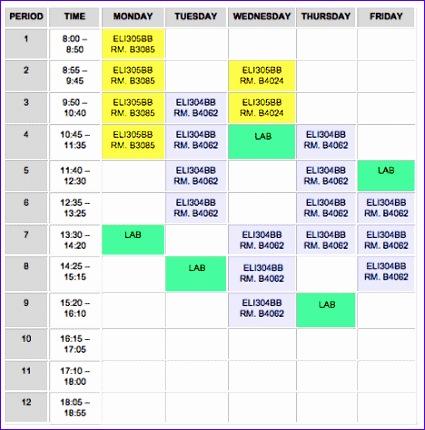 School Timetable Template Excel Udksm Fresh Curriculum Seneca toronto Canada 468468