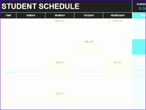 School Timetable Template Excel Vvwra Luxury Student Schedule Fice Templates 510382