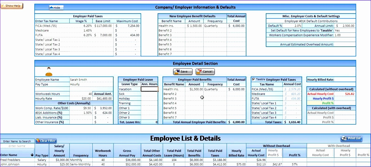 Sign In Sign Out Sheet Template Excel C3awl Awesome Hourly Cost Calculator Labor Burden Estimator Demo 1598716