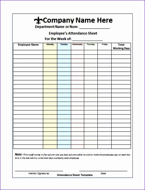 attendance sheet templates 485632