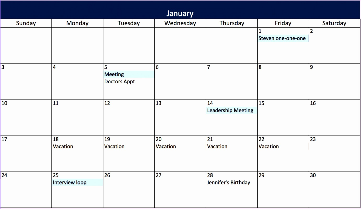 Monthly Calendar In Excel Format : Monthly calendar template excel exceltemplates
