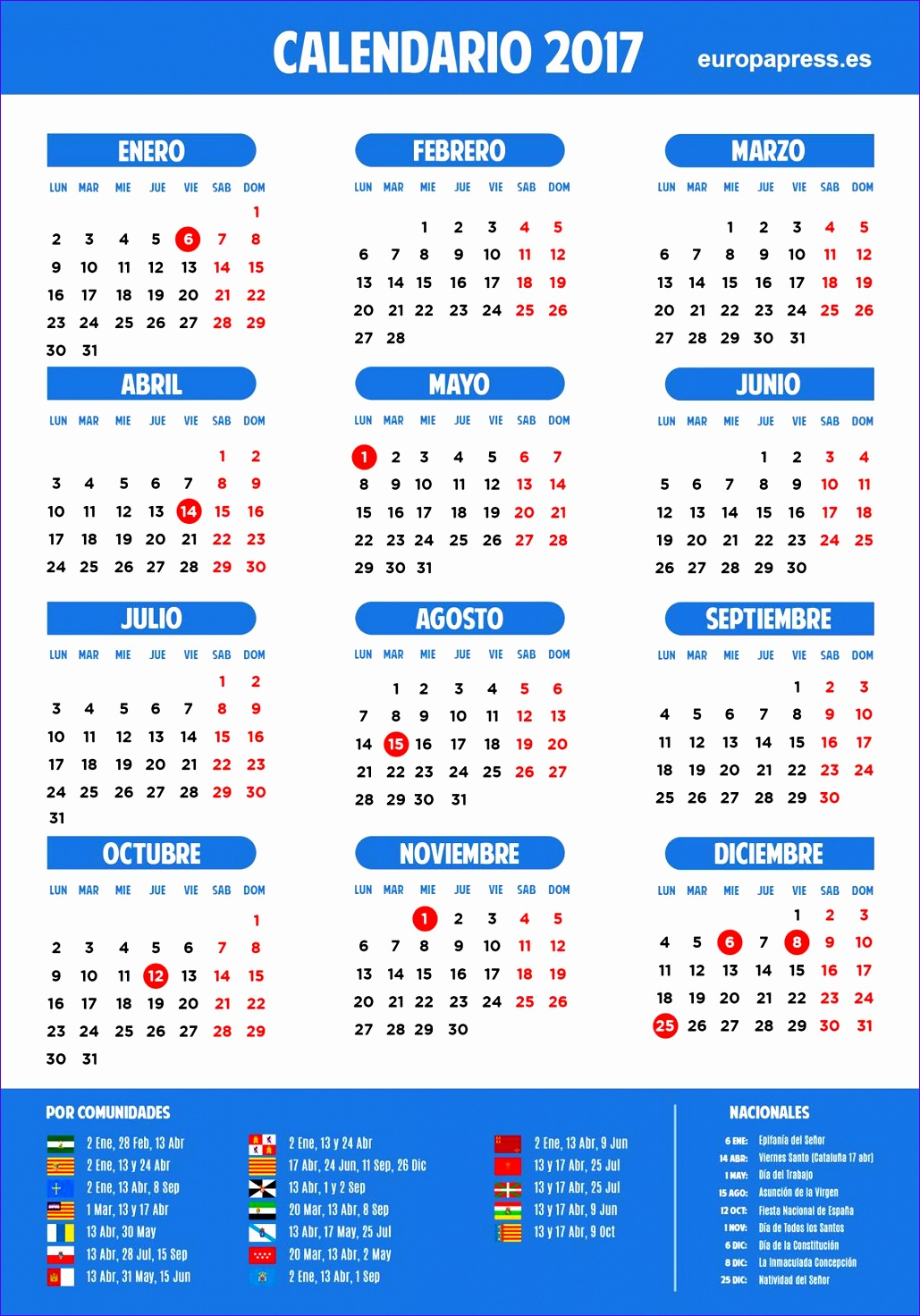 calendario 2017 dias festivos 10291472