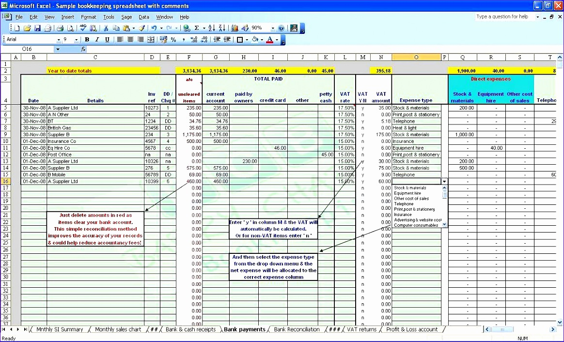 bookkeeping spreadsheet template 1164706