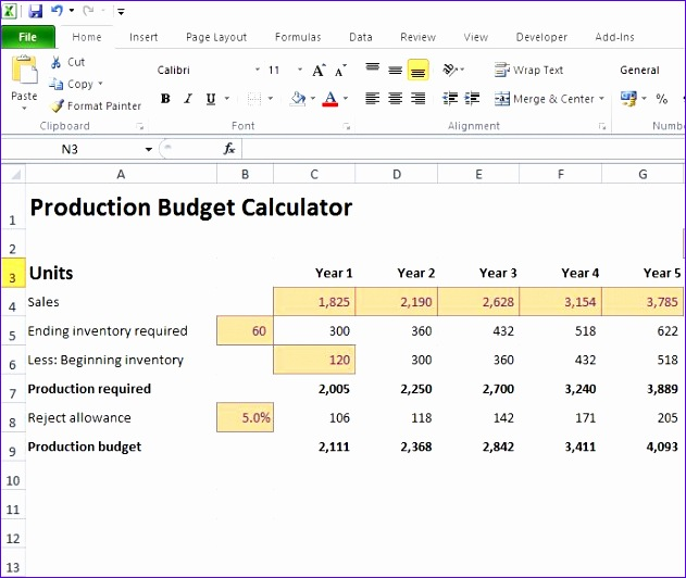 production bud calculator 631532