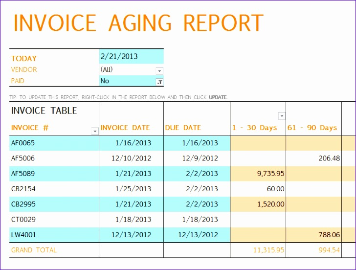 invoice aging report excel template 1350 728552