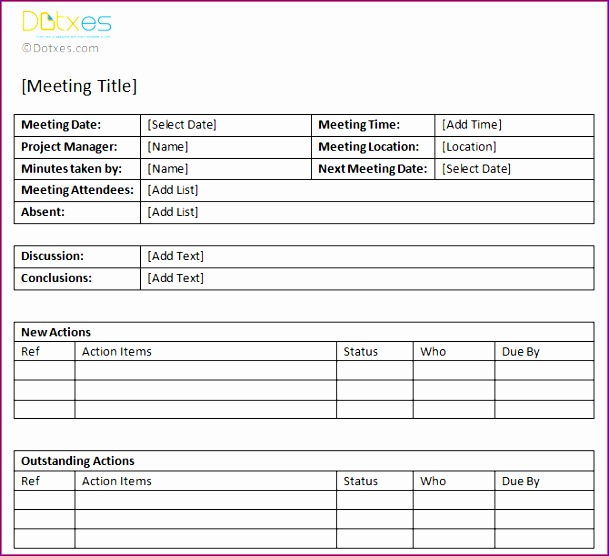 meeting minute template with items 609556