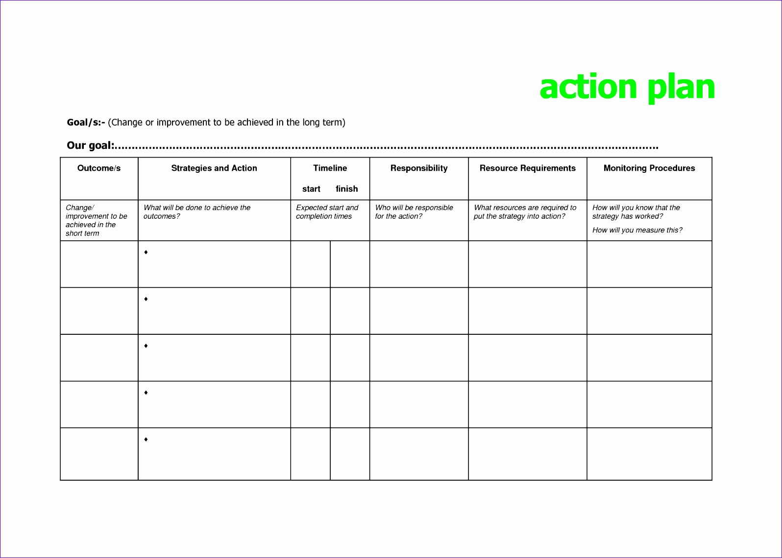 Action Plan Excel Template Zrxws Awesome Doc School Action Plan Template 11  Free Sample 17541240