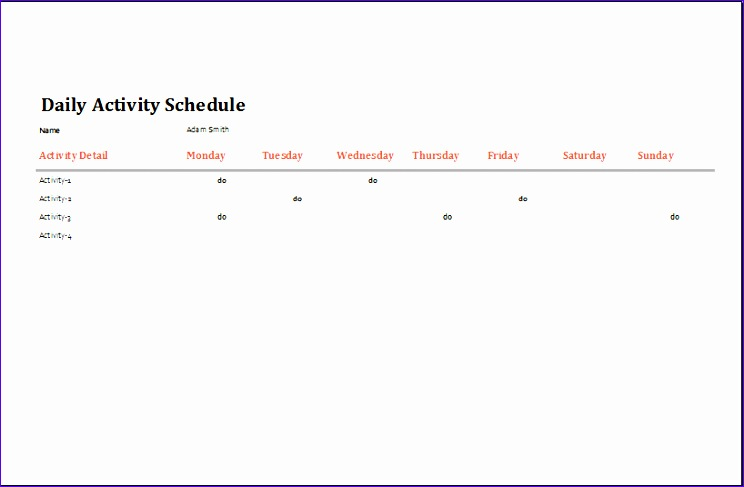 14 Activity Calendar Template Excel Exceltemplates Exceltemplates