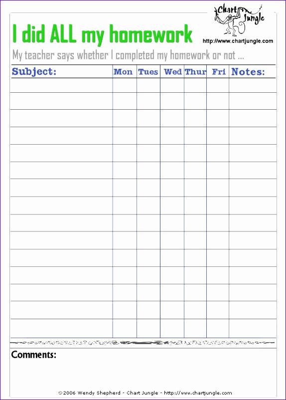 homework chart template 574802