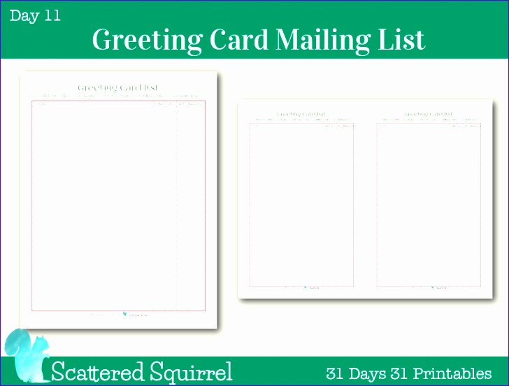 day 11 greeting card mailing list 728552