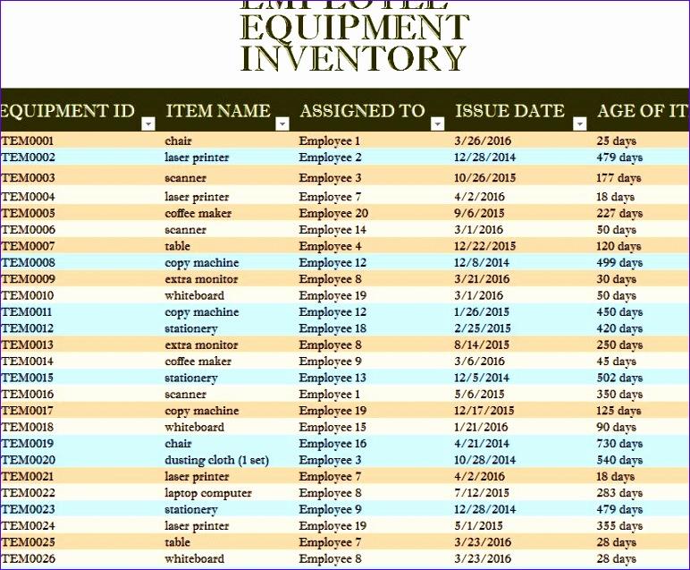employee equipment inventory sheet 772637