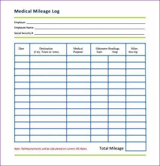mileage log template