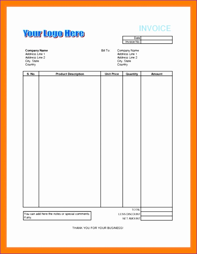 8 invoice bill format in excel