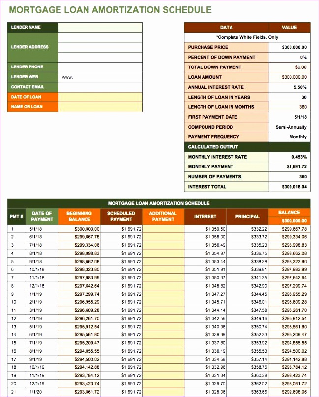 free amortization schedule templates variety loan types 649806