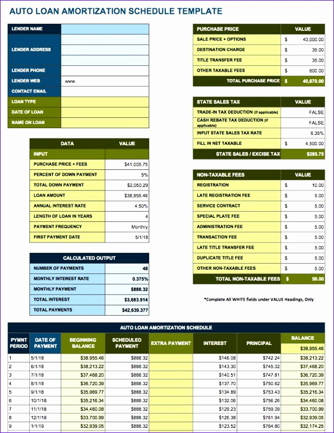 free amortization schedule templates variety loan types 649841