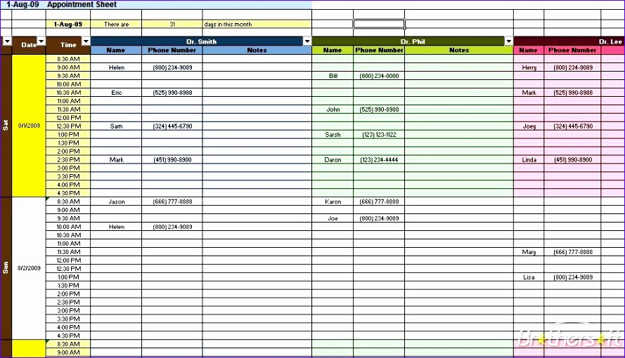 Appointment Template Excel Fssle Fresh Free Appointment Calendar Template 977555