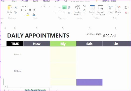 daily appointment calendar template for excel