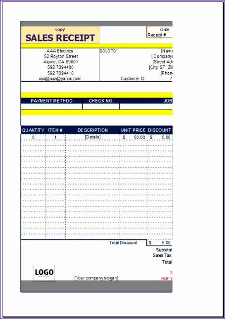 free sales receipt template 455645