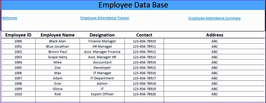 printable employees attendance sheet in excel format 918357