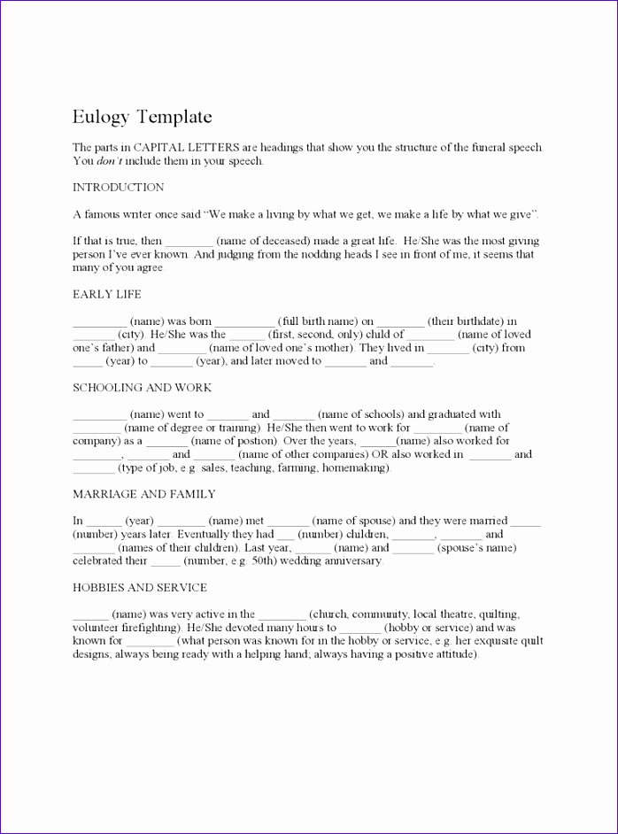 funeral eulogy template 698942