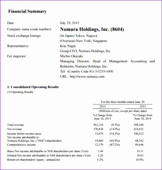 financial summary template 527552