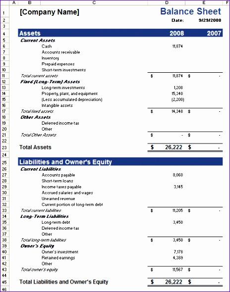 balance sheet 464590