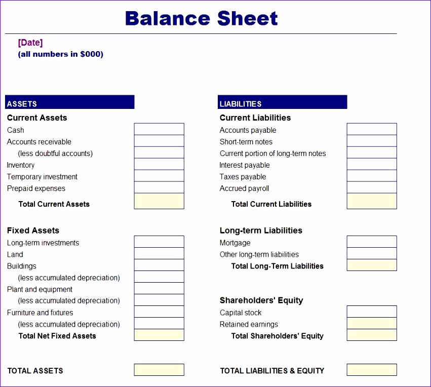 simple balance sheet template 851764