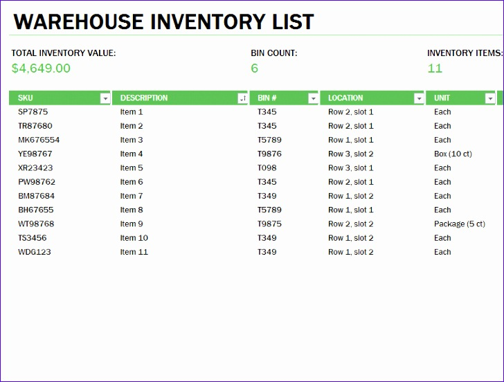 warehouse inventory excel spreadsheet sample 1237