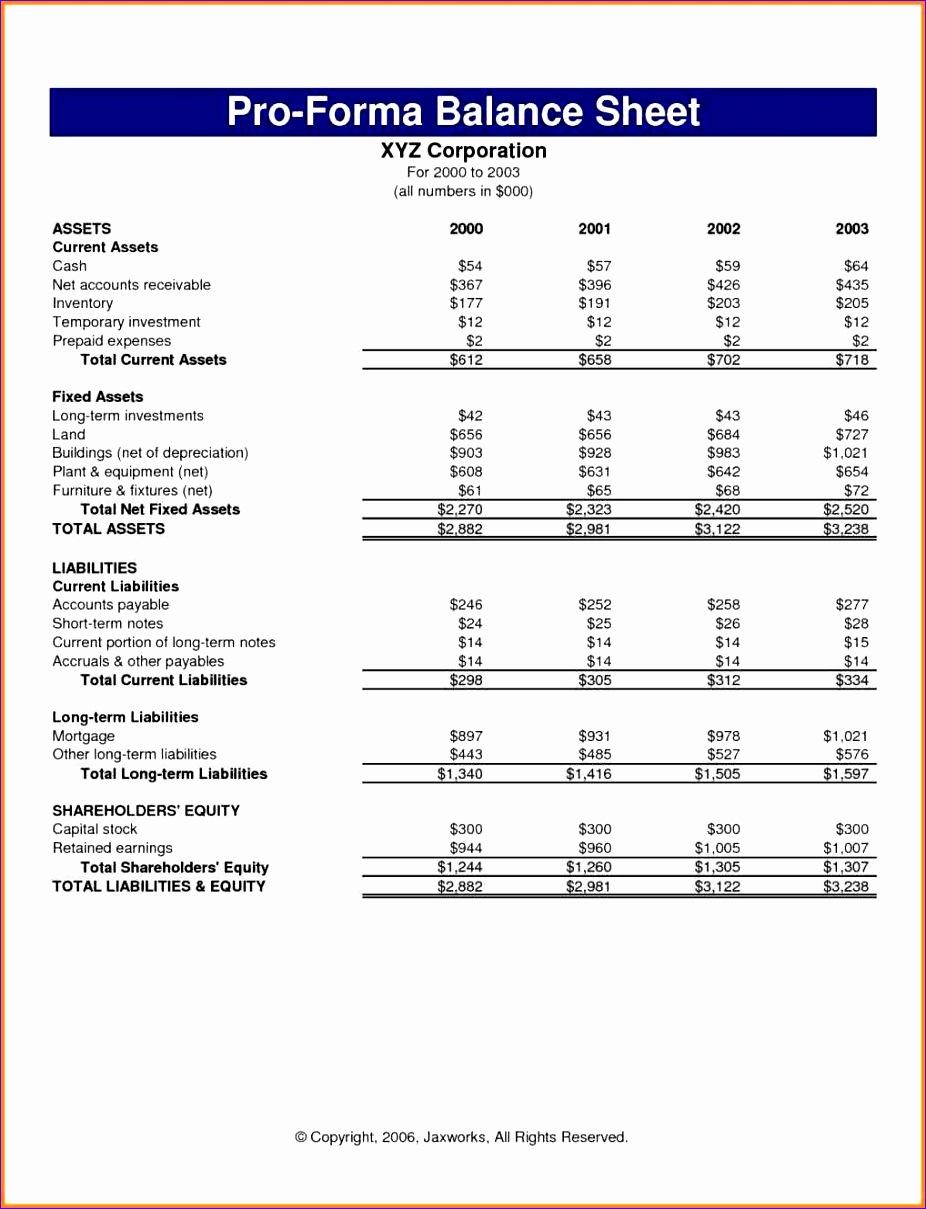 pro forma worksheet 9261209