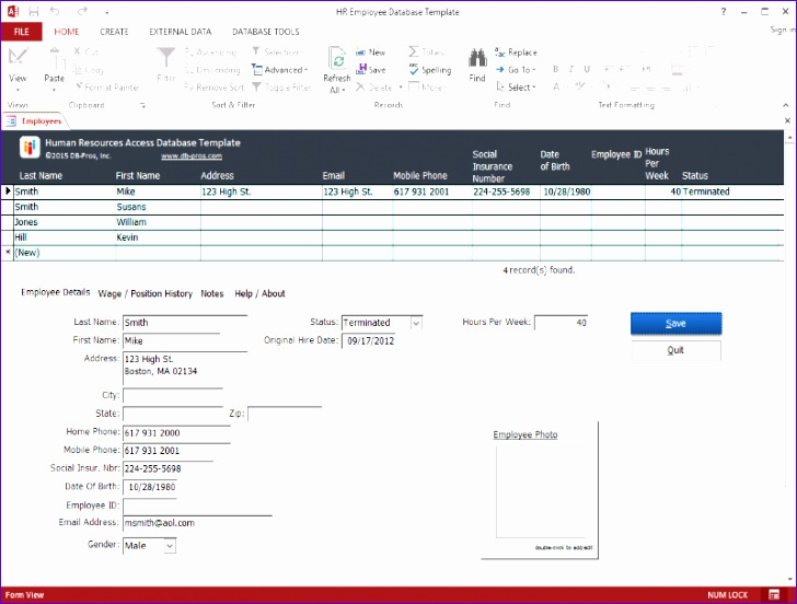 hr employee ms access database template 728552