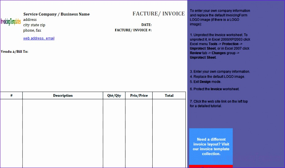Basic Invoice Template Excel Jzewh Fresh Basic Service Invoice Template In French 1020596