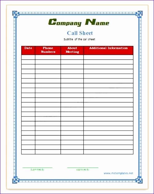 Basic Invoice Template Excel Ujfyl Inspirational Call Sheet Save Word Templates 550688