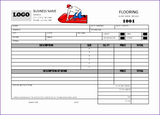 carpet installation invoice template