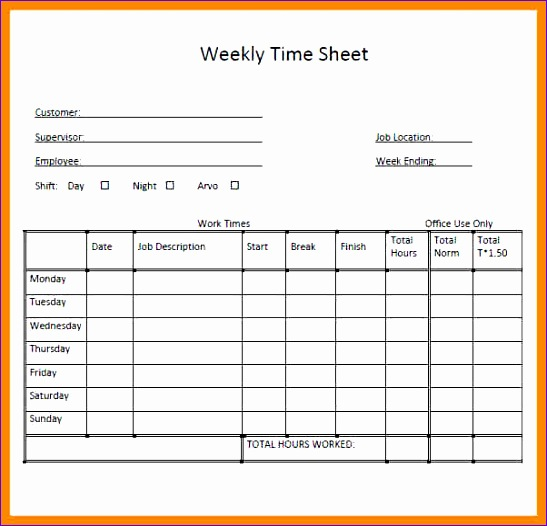 7 weekly timesheet template excel 547526