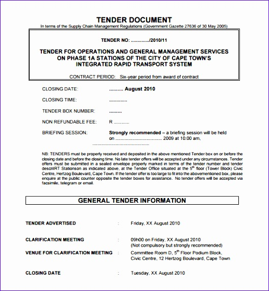 tender document template 527570