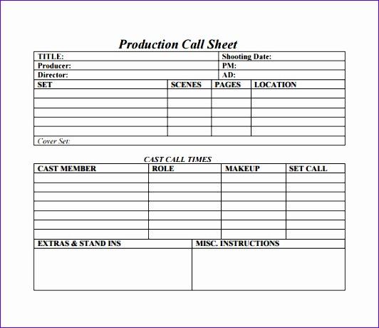 call sheet template 532460