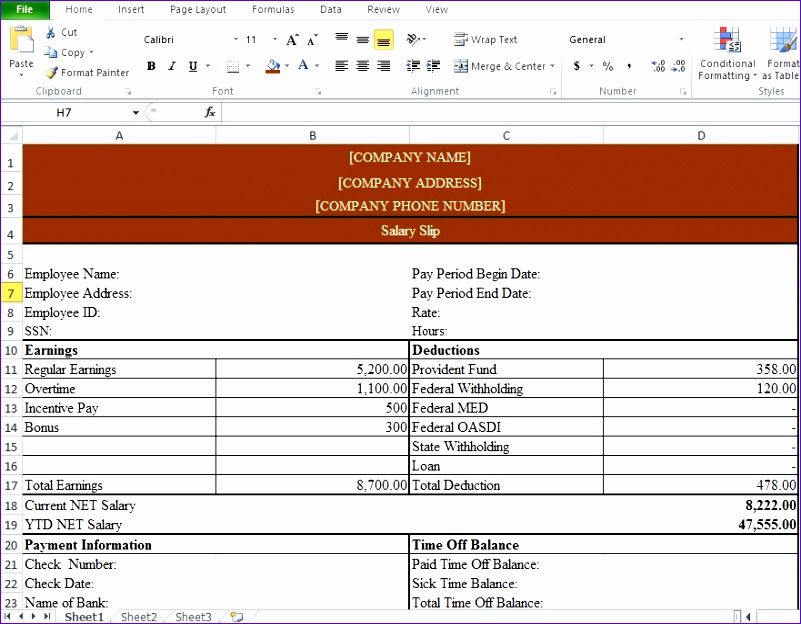 payslip template format word and excel 801624