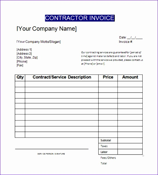 invoice template contractor 184